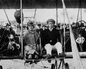 Perhaps the last photograph of Massachusetts aviator J. Chauncey Redding who was killed in an airplane crash a month later. With Carnival Queen Blanche Thompson at Hampton Beach, September 1915. Hampton Historical Society.